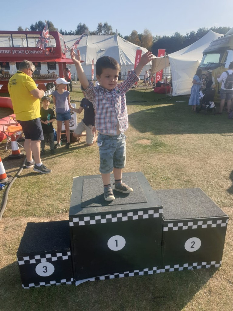 Joey, aged 4, on the podium at Newbury Show