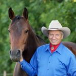 Monty Roberts with horse, Shy Boy