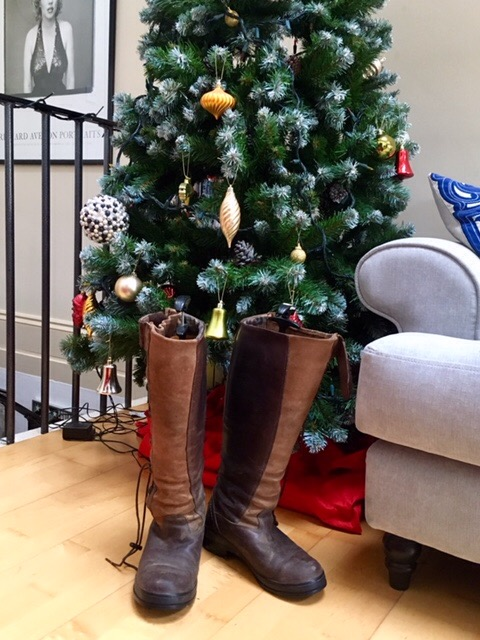 Ariat Grassmere boots in front of Christmas tree